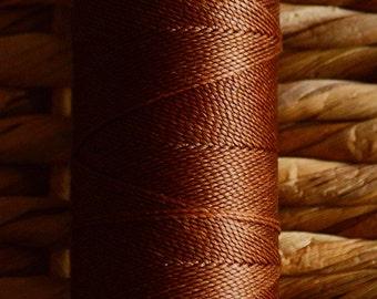 Warm hazelnut brown. Waxed polyester thread spool. Linhasita. Art supply. 172 m / 188 yds, 1 mm thick (28)