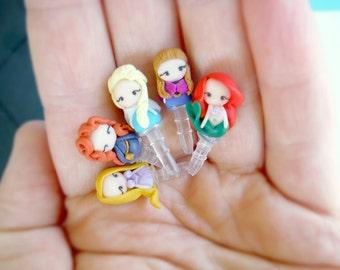 Princess disney inpired anti dust plugs,Cellphone Charms, Clay Charms, Rapunzel,Merida,Elsa,Anna,Ariel,Jasmine,Mulan,Tiana,Belle,Aurora