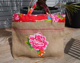 Beach bag Size XXL - recycled coffee bag burlap + Chinese pop fabric - reversilbe