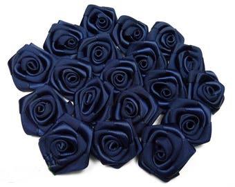 10 blue satin rose heads Navy 3 cm in diameter