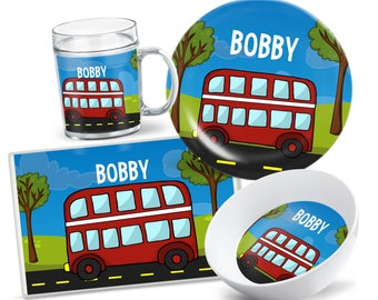 Kids London Bus Tableware - Custom Kids Plate Set - Personalized Kids Plate - Kids Bowl - Kids Placemat - Dinnerware for Kids - Party Decor