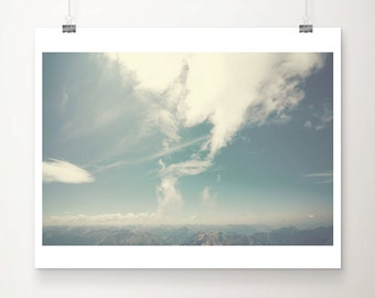 mountain photograph zugspitze photograph sky photograph landscape photograph blue home decor germany photograph alps photograph