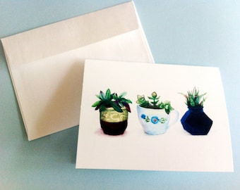 Watercolor Card - Succulents in little containers