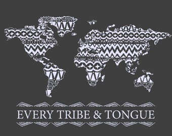 Every Tribe and Tongue Wall Art In Dark Gray