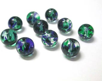 10 green and Blue 10mm, transparent glass beads