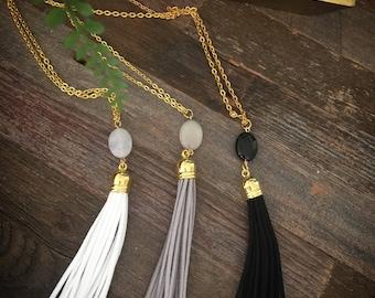 Tassel Necklace - Tassle Necklace - Gemstone - Necklace - Velvet Leather Tassel - Tassels - Pendant Necklace