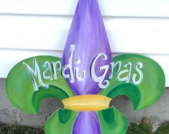 Mardi Gras Fleur de Lis door hanger