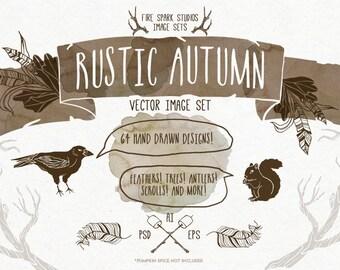 Rustic Autumn Vector Illustrations - Photoshop and Illustrator - Digital Download, Vector Clip Art, EPS, PNG, Photoshop, Illustrator