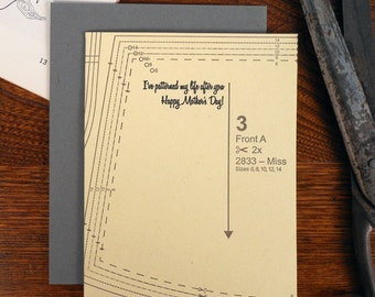 letterpress i've patterned my life after you happy mother's day card mom sewing pattern seamstress