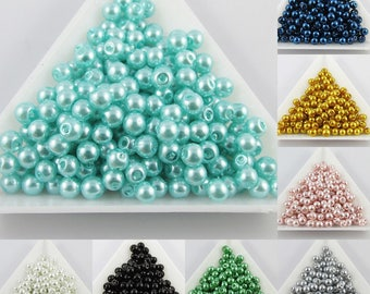 20g 200+ pcs Round Glass Pearl Beads 4mm Select from 11 colours