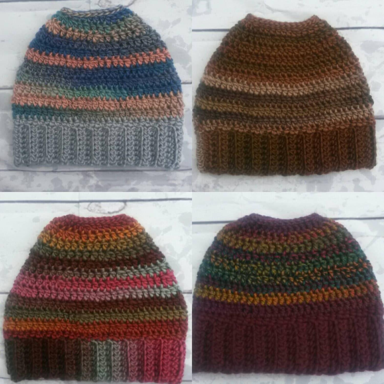 Messy Bun Beanie, Messy Bun Hat, Crochet Ponytail hat, Top Knot Beanie, Open Top Hat, Bun Taboggen, Crochet Toque, Gift under 30, Knitted
