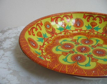 Vintage Funky Metal Bowl by Daher In Orange Turquoise Yellow, Psychedelic Kaleidoscope Mandala, Boho Chic, England