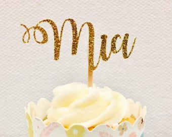 12ct Personalize glitter cupcake toppers, custom name cupcake topper, personalize name cupcake topper, calligraphy cupcake toppers
