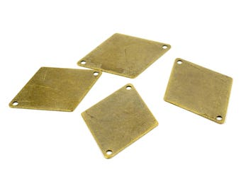 20 Pcs. Antique Brass Rhombus 25x33 Geometric 2 Hole Blanks