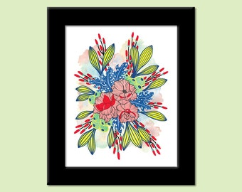 Primary Shade - Colorful Contemporary Modern Floral Botanical Art Print by Megan Q.C. Gallagher