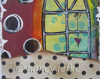 the window is wide - 5 x 7 ORIGINAL COLLAGE by Nancy Lefko