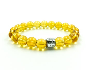 Citrine Natural Beads Bracelet - Swarovski Crystal - Gemstone Bracelet - Gemstone Jewelry - Citrine Jewelry - Handmade Gemstone Jewelry