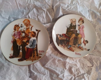 2 Norman Rockwell plates