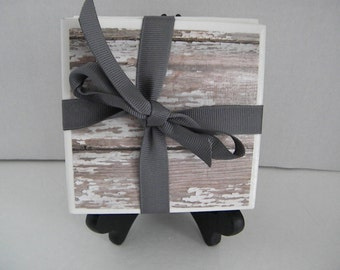 Distressed, Barn Wood Rustic, Washed Shabby Chic Looking Set of Drink Coasters Great Gift Idea!