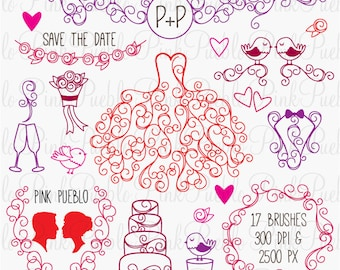 Hand Drawn Wedding Photoshop Brushes, Wedding Silhouettes Photoshop Brushes - Commercial and Personal