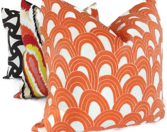 Trina Turk Persimmon Arches Designer  Indoor Outdoor Pillow Cover, Schumacher, 18x18, 20x20,22x22