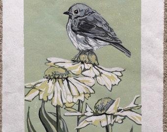 Bird in the Field, original woodcut
