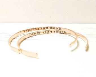 Custom Hand Stamped Bracelet, Intention Bracelet, Personalized, Hammered Stacking Cuff, Skinny Stacking Cuff, Secret Message Bracelet