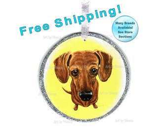 Dachshund Ornament, Brown Dachshund Art, Pet Memorial, Christmas Ornament, Doxie, Weiner Dog, Pet Loss Gift, Tree Ornament, Free Shipping