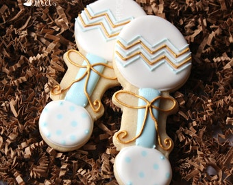 Chevron Baby Shower Cookies, It's A Boy Decorated Cookies, Baby Rattle Cookies, Polka Dot Cookies, Baby Shower Cookies