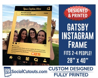 Great Gatsby Party Instagram Frame Photo Booth Prop Printed and Shipped Fully Custominzed for your Gatsby or Masquarade Party
