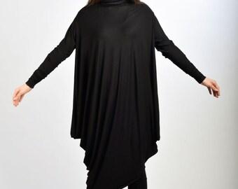 Black Long Dress/ Extravagant Oversized Dress/ Long Sleeved Tunic/ Black Maxi Dress/ Tunic Top by Fraktura D0023