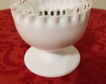 Fenton Milk Glass Silver Crest Crimptop Dip/Serving Dish