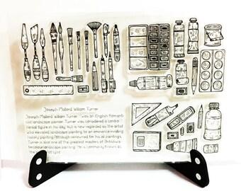 Artist Tools Stamp, Painting Tools Clear Transparent Stamp, Brush Rubber Stamp, Planner Bullet Journal, Paint Palette, Ruler, Palette Knife