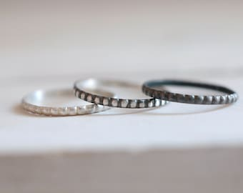 Silver Band. Black sterling silver soft beaded ring. Stacking ring, wedding ring, wedding band, silver ring, beaded ring, adjustable.