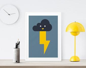 Lightning Bolt Print - Cloud Print, Baby Art Print, Weather, Boys Room Decor, Kids Room, Wall Art, Nursery Print, Blue