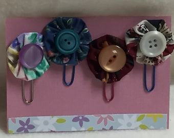 Yo Yo Flower Bookmarks / Paperclips - set of 4 (#001)