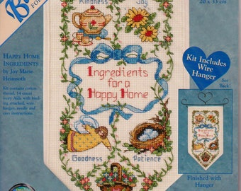 DIMENSIONS Banners for a cozy home #72557, rare cross-stitch kit, Happy Home Ingredients, small, unopened, needlework, home decor, kitchen