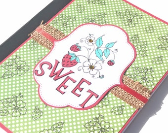 Altered Notebook or Journal - Sweet Strawberry for Notes, Thoughts and Ideas - Great Gift for Her