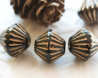 Pressed Bicone Beads 11 mm Black with Golden Tops 4 pcs