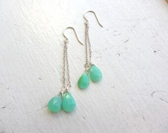 Chrysoprase Earrings, May Birthday, Gemini Birthday, May Birthstone Earrings, Beach Jewelry,  Chrysoprase Threader Earrings, Threaders