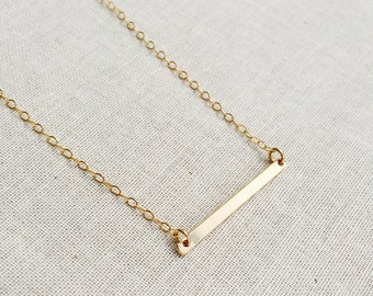 Gold Bar necklace, 14kt Gold Filled Necklace, Bar Necklace, Modern Necklace, Everyday Necklace, Skinny Bar Necklace, Best Friend Gift,