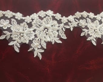 3D Ivory Lace Trim, ST2237,French Lace, Bridal Gown Lace, Garter pearl lace