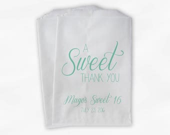 A Sweet Thank You Sweet 16 Candy Buffet Treat Bags - Mint Green Personalized Favor Bags with Names and Wedding Date (0153)