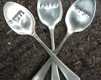 Vintage Silverware Teaspoon Garden Markers Set Herb