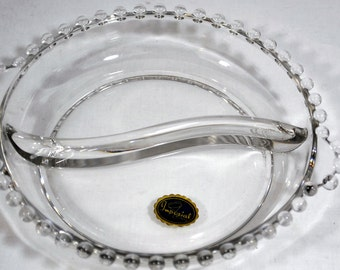 Elegant Imperial Glass Candlewick Divided 2-Part Relish Dish with Original Tag