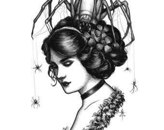 Spiders In Her Hair ||Art Print||
