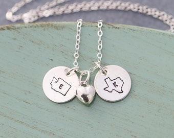 Sterling Silver Jewelry State Gift • Best Friend Gift Stamped State Charms Travel Gift • Moving Long Distance Relationship Gift