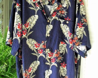 Large Tropical Print Rayon Shirt/ Retro Rayon Man's Shirt by Puritan/ Navy with Red and Green Print/ Shabbyfab Thrifted Funwear