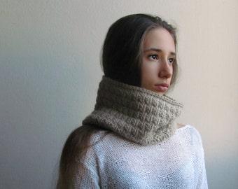 Light beige scarf /  tube scarf / Alpaca wool / Winter accessories / winter scarf