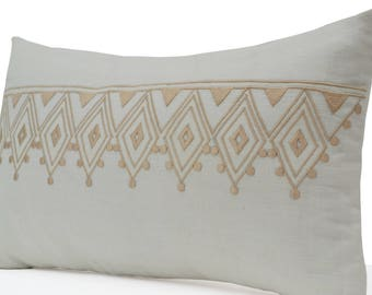 Throw Pillow Cover, Linen Pillow, Ivory Pillow, Moroccan Pillow, Decorative Pillows For Couch, Geometric Embroidery Pillow, Linen Cushion